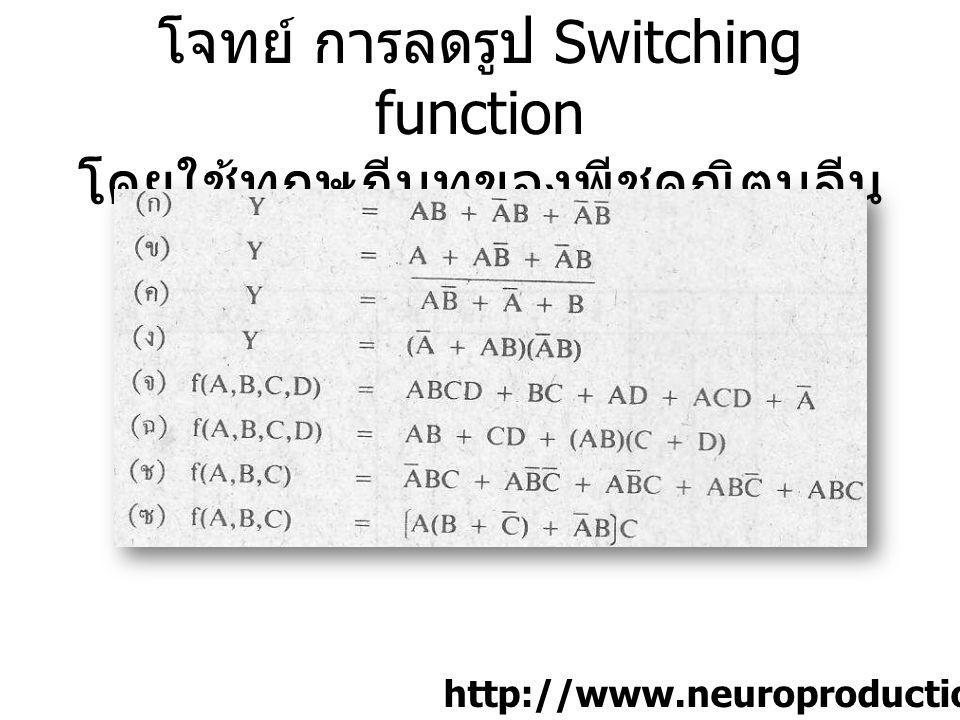 โจทย์ การลดรูป Switching function โดยใช้ทฤษฎีบทของพีชคณิตบูลีน [1]p.50